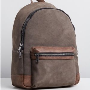 "ALDO Alerona 16""Backpack Suede/Leather Taupe/Brown"